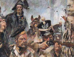 Fragment obrazu Wojciecha Kossaka pt. Bitwa pod Olszynką grochowską.
