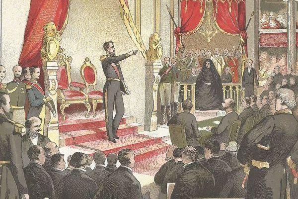 """Leopold II tron belgijski objął bezpośrednio po swoim ojcu. Mimo prowadzenia brutalnej kolonialnej polityki spora część Belgów nadal darzy go szacunkiem i sentymentem, wznosząc mu kolejne pomniki. Obraz Ghémara Frèresa """"Wstąpienie Leopolda II na tron""""."""