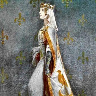 Tak wyobrażano sobie czeską modę dworską XIV stulecia na początku wieku XX. Portret luksemburskiej królewny Anny, wydanej za mąż za władcę Anglii Ryszarda II
