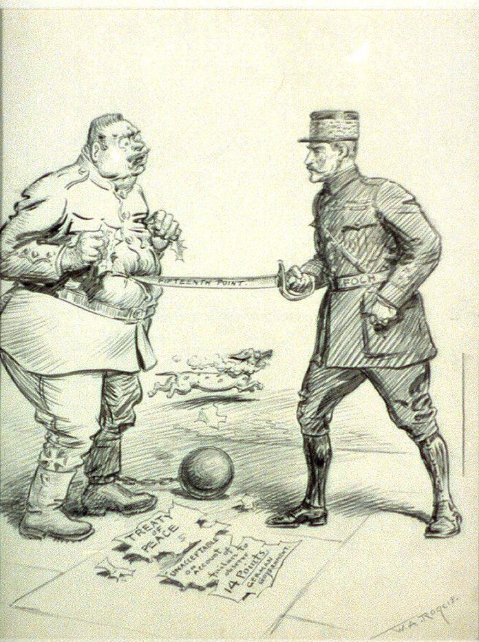 Warunki jakie Ententa narzuciła Niemcom, były dla tych ostatnich prawdziwym upokorzeniem. Na ilustracji karykatura autorstwa Williama Allena Rogersa.
