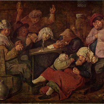 """Średniowiecznych Polaków często nazywano piwożłopami. Anglosasi jednak potrafili spożyć o wiele więcej litrów browaru. Obraz Adriaena Brouwera """"Pijani chłopi w karczmie""""."""