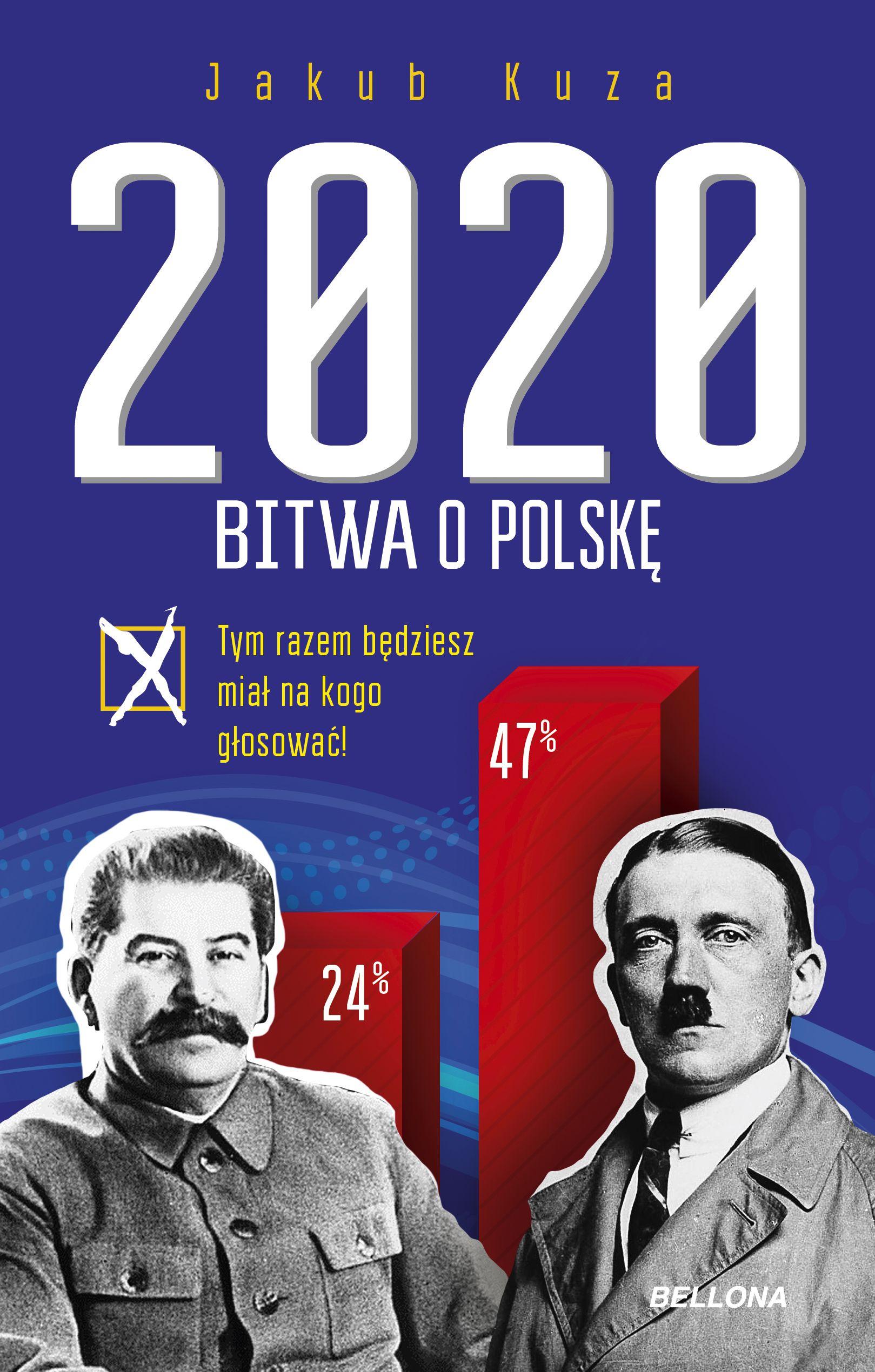 """Najnowsza książka Jakuba Kuzy """"Bitwa o Polskę 2020"""" (Bellona 2018) to prowokująca opowieść o przyszłości, w której w wyborach prezydenckich pojawia się dwóch kandydatów: Stalin i Hitler."""