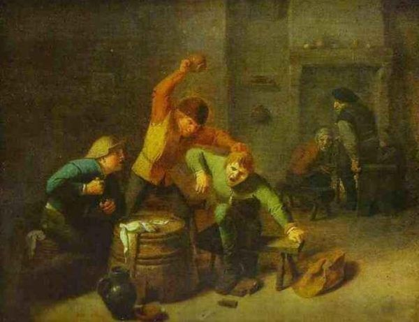 """Nadużywanie alkoholu miało niekiedy opłakane skutki. Dochodziło nie tylko do bijatyk, ale i tragicznych zbrodni. Obraz Adriaena Brouwera """"Bijący się chłopi""""."""