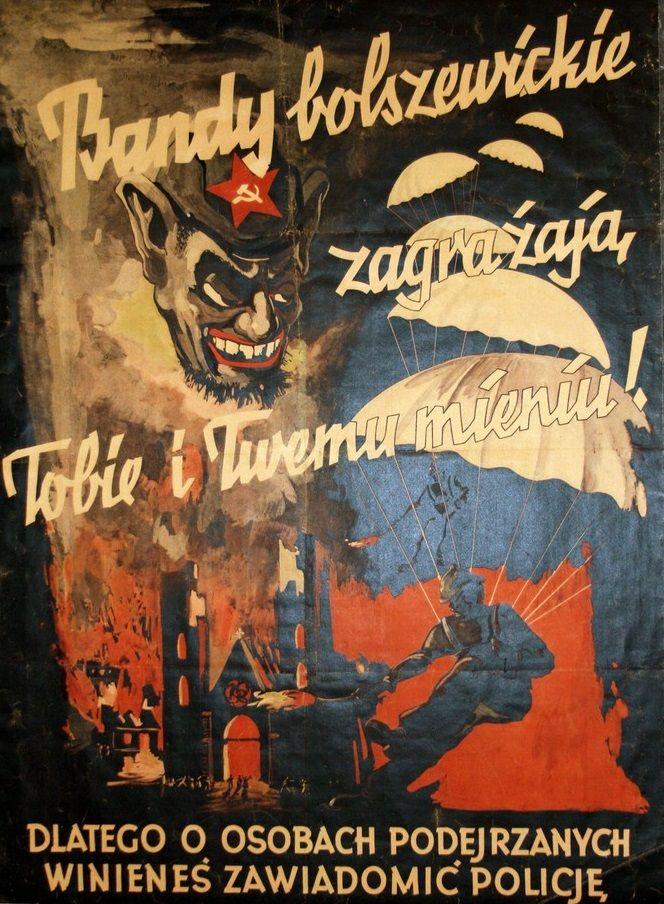 Chociaż wzajemne interesy Piłsudskiego i Hitlera znacznie się różniły, w kwestii antybolszewizmu byli całkowicie zgodni. Fragment polskojęzycznego nazistowskiego plakatu.
