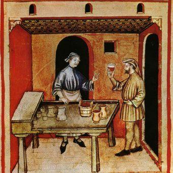 """Czy można sobie wymarzyć lepszy zawód niż bycie testerem... piwa? Ilustracja z średniowiecznego podręcznika """"Tacuinum Sanitatis""""."""