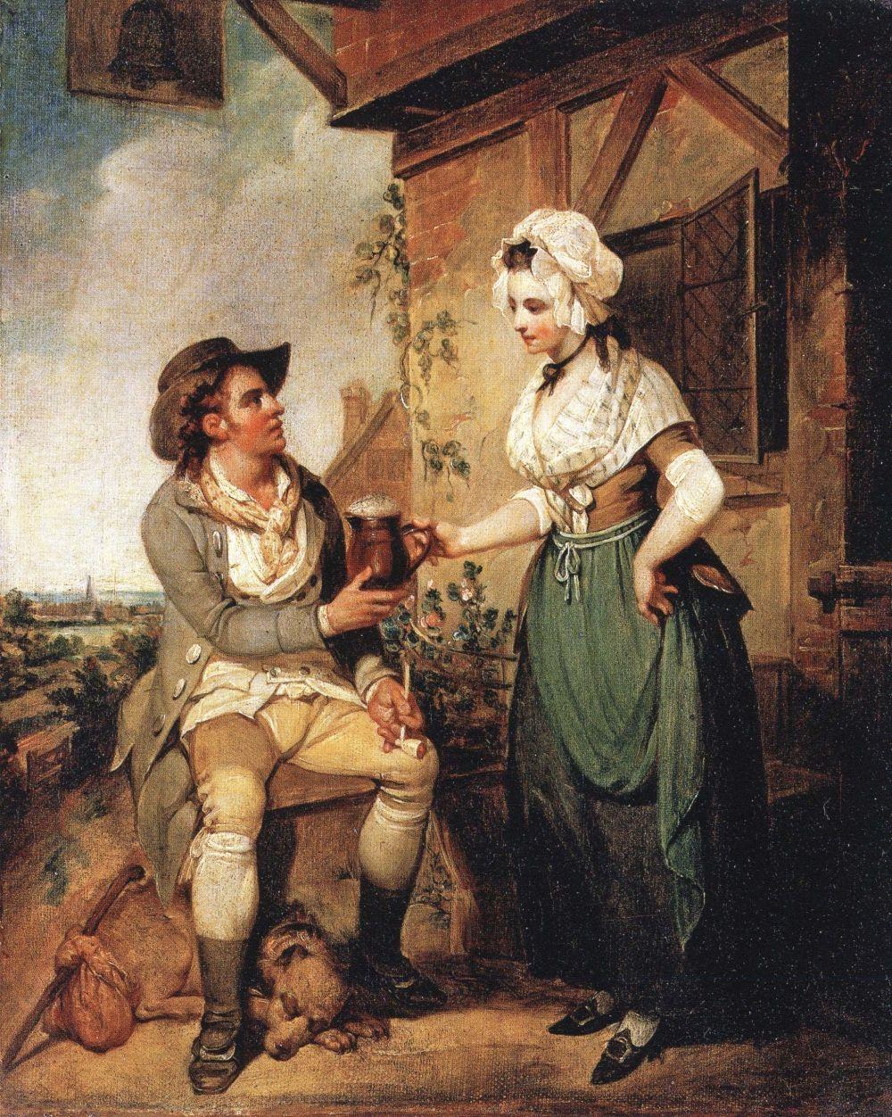 """Przez prawie całe średniowiecze, najlepszy zawód tej epoki uprawiały w Anglii kobiety. Nie tylko warzyły piwo, ale i testowały jego smak. Obraz Henry'ego Singletona """"The Ale House Door""""."""
