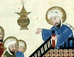 Wino jako dzieło szatana? Tak miał ponoć uznać Mahomet. Na ilustracji fragment średniowiecznego rękopisu przedstawiającego proroka głoszącego kazanie.