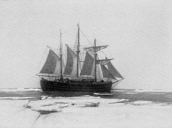 """Amundsen uzyskał zgodę na użycie dawnego statku Nansena """"Fram"""" (na zdjęciu), ponieważ oficjalnie przygotowywał się do wyprawy na biegun północy. Wiadomość o dotarciu do niego Cooka i Peary'ego zmieniła jego plany."""