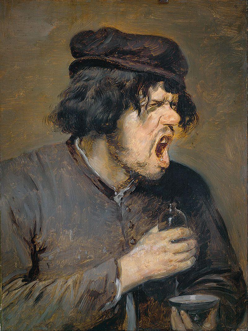 """Czyżby """"chlanie piwa"""" było powodem do dumy? Obraz Adriaena Brouwera """"Gorzki łyk"""" (1635)."""