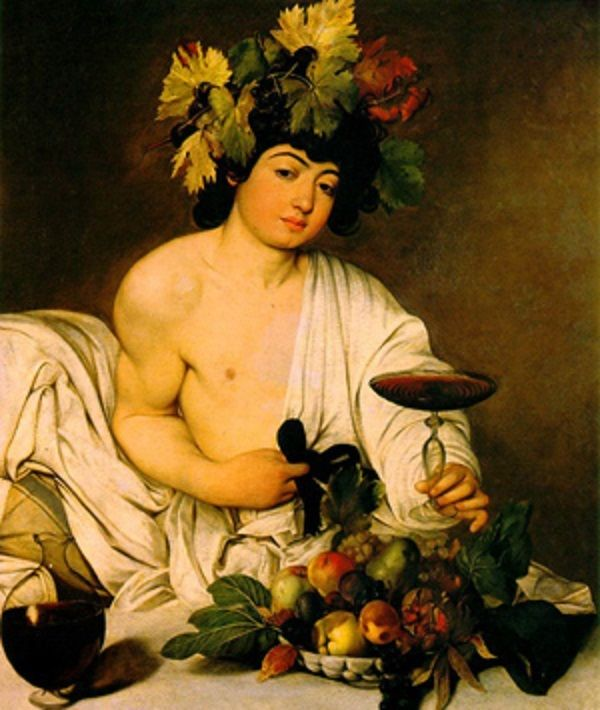 Bachus - rzymski bóg wina, obraz autorstwa Caravaggia (fot. domena publiczna)