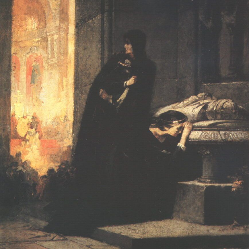 Elżbieta Bośniaczka wraz z córką Marią przy grobie Ludwika Węgierskiego.