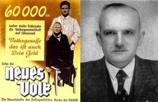 Autorem ustawy sterylizacyjnej nie był żaden z przybocznych Hitlera, ale mało znany weteran NSDAP Arthur Gütt (na zdjęciu po prawej). Po lewej - jeden z nazistowskich plakatów propagandowych, wyceniający ile kosztuje państwo utrzymanie osoby cierpiącej na jedną z chorób dziedzicznych.