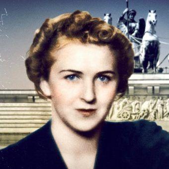 """Ewa Braun trwała u boku Hitlera aż do samobójczej śmierci. Na ilustracji fragment okładki książki """"Spowiedź Ewy Braun"""" (Bellona 2018)."""