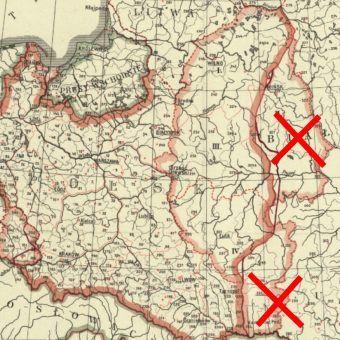 Fragment mapy administracyjnej kraju autorstwa Eugeniusza Romera. Plan z 1920 roku obejmuje tereny, które po pokoju ryskim pozostały poza obszarem Polski