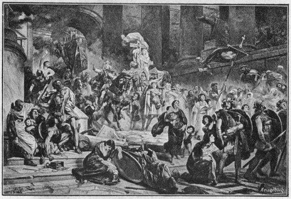 Zdobycie Rzymu przez Alaryka, choć przejściowe, zwiastowało upadek imperium.