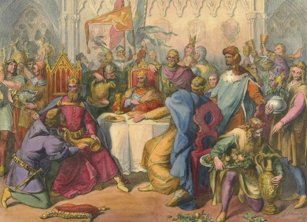 Kazimierz Wielki na słynnej uczcie u Wierzynka. Litografia z połowy XIX wieku.