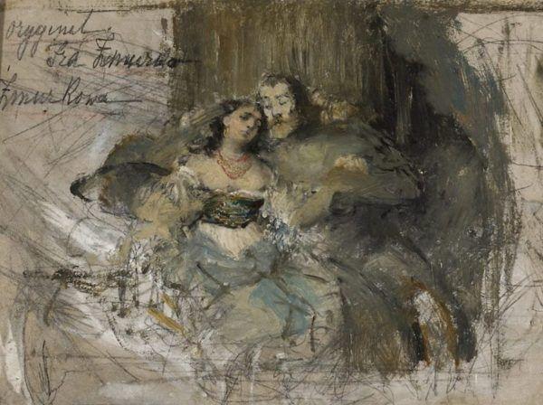 Kazimierz Wielki z jedną ze swoich kochanek na obrazie Franciszka Żmurki (koniec XIX wieku).