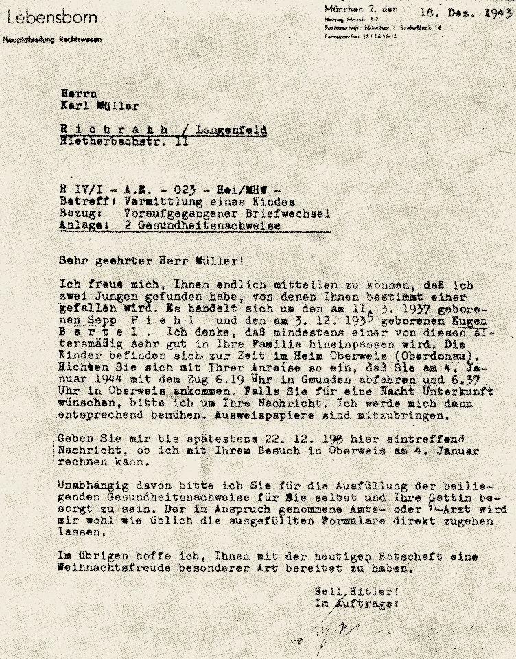 Pismo Lebensbornu z 18 grudnia 1943 roku do obywatela Niemiec Karola Müllera z zawiadomieniem, że znaleziono dla niego dwóch polskich chłopców z łódzkiego ośrodka, z których jednego będzie mógł sobie wybrać.