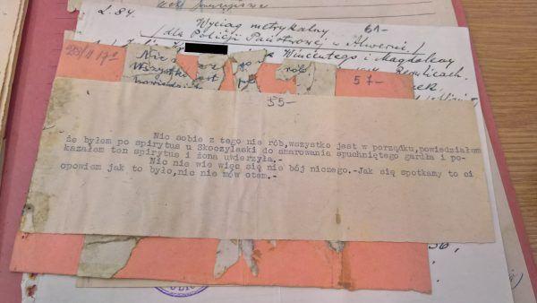 Listy i ich odpisy zachowane w aktach sprawy kolejarza z Alwerni.