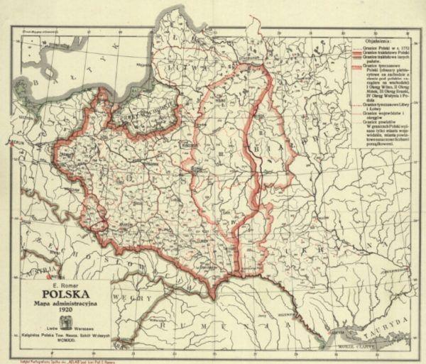 Mapa administracyjna Polski z 1920 roku wykonana przez E. Romera. Na wschodzie widoczne terytoria, które ostatecznie nie weszły w obszar II Rzeczypospolitej.
