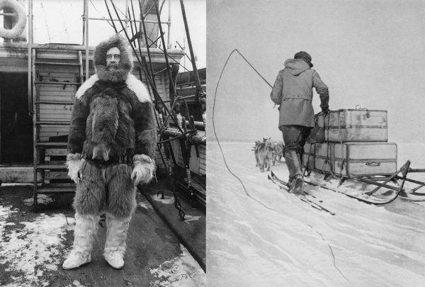 Robert Edwin Peary był prawdopodobnie pierwszą osobą, która dotarła do bieguna północnego (na zdjęciu po lewej). Z pewnością jednak to jemu udało się znaleźć sposób łapania, uciekających od załogi, psów (po prawej - jeden z marynarzy Amundsena).