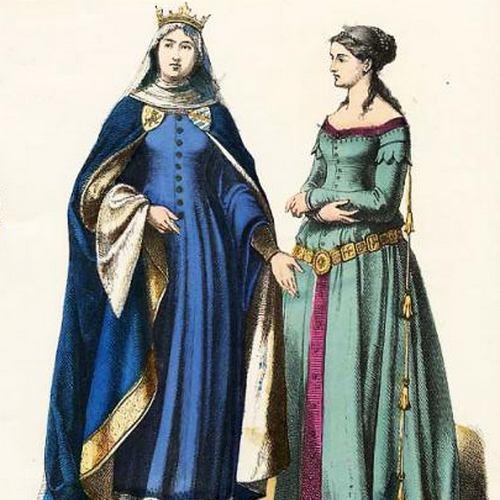Nie zachował się żaden portret Krystyny Rokiczany, ale tak w XIX stuleciu wyobrażano sobie XIV-wieczną modę dworską.