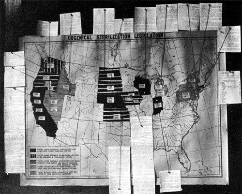 Pierwszym krajem na świecie, który wprowadził przymusową sterylizację w ramach polityki eugenicznej, były Stany Zjednoczone. Na ilustracji plakat z konferencji w 1921 roku przedstawiający stany, które przyjęły ustawę.