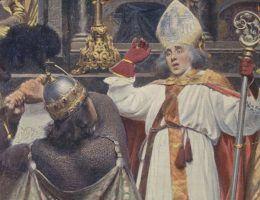 Śmierć biskupa Stanisława na obrazie Aleksandra Augustynowicza. W rzeczywistości śmierć przyszłego świętego na pewno wyglądała inaczej.