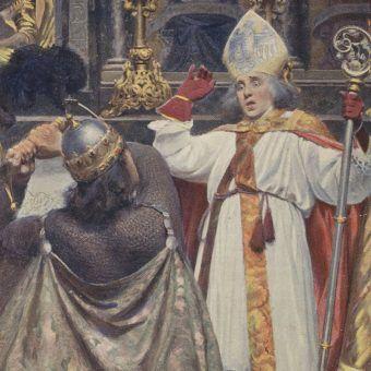 Śmierć biskupa Stanisława na obrazie Aleksandra Augustynowicza. W rzeczywistości zgon przyszłego świętego wyglądał na pewno inaczej.