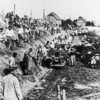 Zentralbild / IML KZ Sachsenhausen. Die Häftlinge von Sachsenhausen wurden zu schwerer Arbeit im Klinker Werk gezwungen, wo viele vor Erschöpfung zusammenbrachen und ermordet wurden.