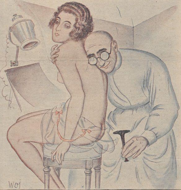 """""""U Doktora"""". Ilustracja z czasopisma """"Bocian"""" z 1924 roku."""