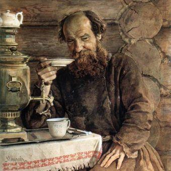 Nie ma to jak opowieść przy dobrej herbacie. Fragment obrazu Aleksandra Morozowa.