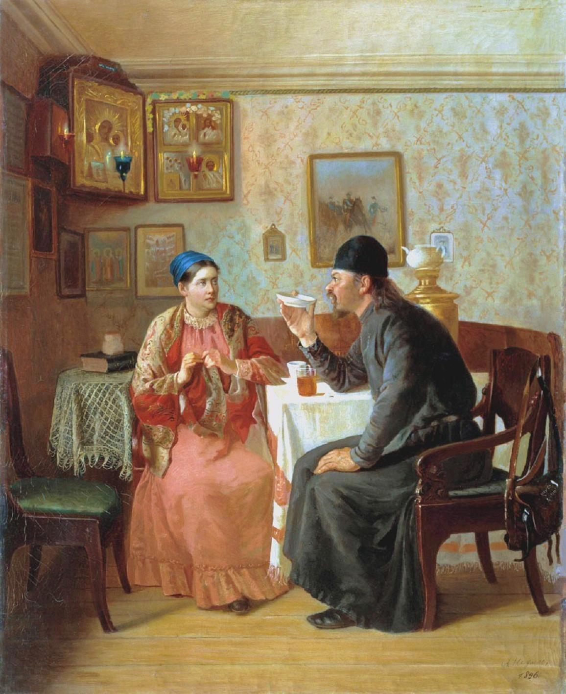 """Od alkoholu, przez tradycję picia herbaty, aż po dyskusję dotyczącą globalnego """"pijaru"""". I kto powiedział, że historia jest nudna? Obraz Alekseja Naumowa."""