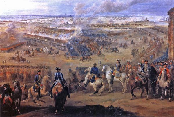 Tyfus rozprzestrzenił się razem z żołnierzami walczącymi w wojnie o sukcesję austriacką. Na obrazie jedna z bitew konfliktu- bitwa pod Fontenoy.