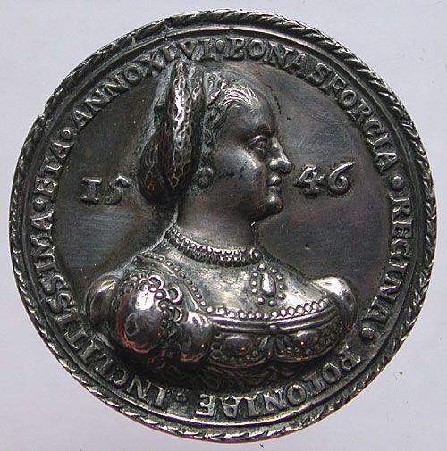 Bona Sforza na medalu z 1546 roku.