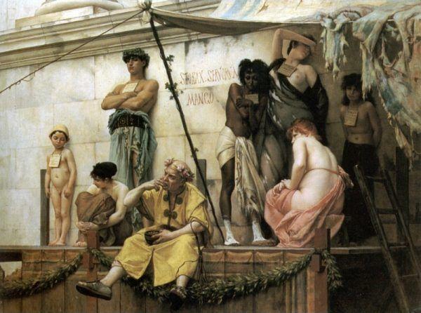 """Brytyjczycy nie wahali się tworzyć imperium na krwi własnych rodaków. Zaprzestali tego procederu dopiero, gdy znaleźli łatwiejszy sposób na pozyskiwanie niewolników ze swoich kolonii. Obraz Gustawa Boulangera """"Targ niewolników""""."""