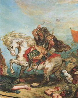 """""""Bicz Boży"""" zmarł z powodu zwykłego krwotoku z nosa. Na ilustracji Attyla na XIX- wiecznym obrazie Eugène'a Delacroix."""