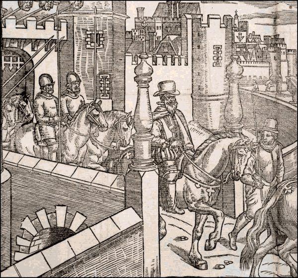 Pierwszymi ofiarami brytyjskiej zachłanności stali się Irlandczycy. Masowa kolonizacja rozpoczęła się za czasu Tudorów. Na ilustracji Henry Sidney, brytyjski poseł Elżbiety I, wyruszający z Twierdzy Dublińskiej (1581).