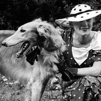 Kobieta z psem rasy chart syberyjski. Fotografia z katowickiej wystawy psów z roku 1935