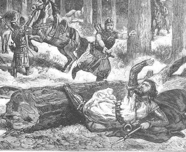 Królewski wypadek na polowaniu w wyobrażeniu Ksawerego Pilatiego. Ilustracja z końca XIX wieku