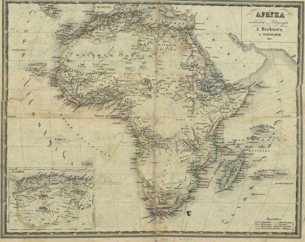 Mapa Afryki z 1851 roku z zaznaczoną czerwonym kolorem Liberią.