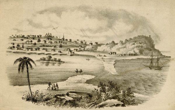 Stolica Liberii Monrovi na pocztówce z połowy XIX wieku.
