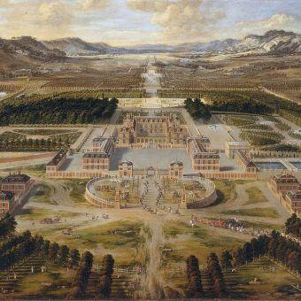 Nowożytny pałac w Wersalu na obrazie z 1668 roku.