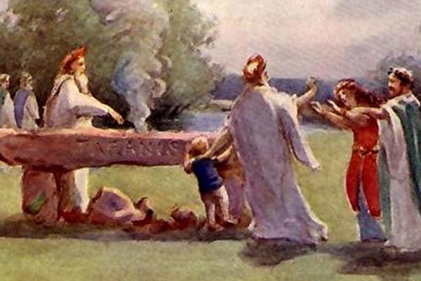 XIX-wieczny rysunek przedstawiający druidów składających w ofierze dziecko.