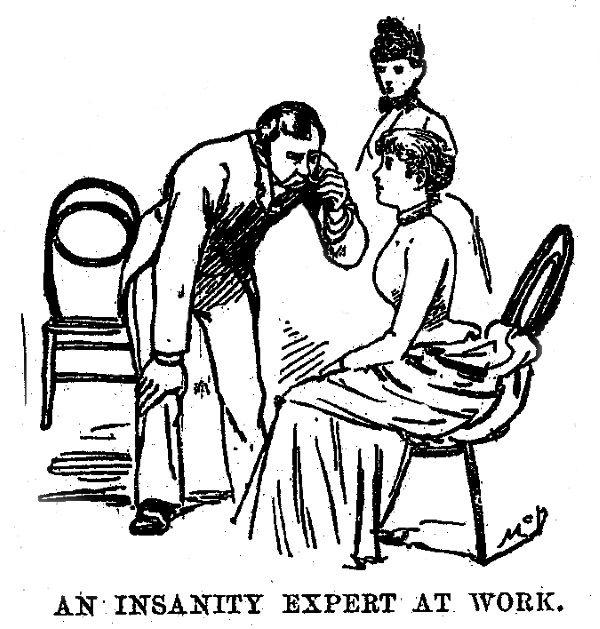 Panna Bly w zakłądzie dla obłąkanych - ilustracja z gazety (fot. domena publiczna)