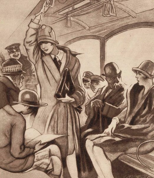 Pasażerowie tramwaju na ilustracji z pisma Światowid.