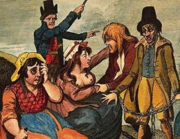 Zanim Brytyjczycy dorobili się na handlu czarnymi niewolnikami, rozpoczęli kolonizację Irlandi, a wkrótce niewolili i rodaków. Na ilustracji Angielski opłakujące swoich kochanków, którzy mają zostać wysłani na wyspę (1792 rok).