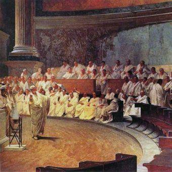 Senat starożytnego Rzymu na XIX-wiecznym obrazie