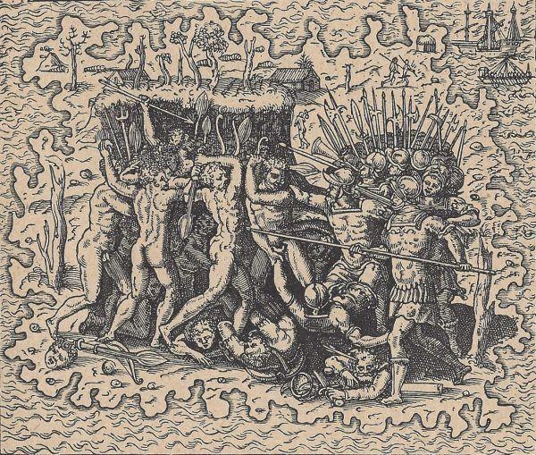 XVI-wieczna rycina przedstawiająca śmierć Magellana.