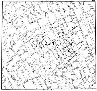 """Mapa Johna Snowa zwana później """"Mapą Duchów"""" pozwoliła ustalić źródło epidemii."""